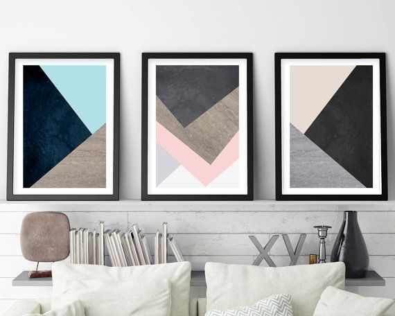 Set of 3 Prints, Print Set, Scandinavian Print, Scandinavian Art, Geometric Art, Geometric Print, Minimalist Poster, Nordic, Downloadable  This set of 3 prints will infuse an ordered, symmetrical quality to your home or office, with their natural tones and geometric lines. Using the latest in trending interior design Pantone colours - Limpet Shell, Iced Coffee and Rose Quartz.  This is an instant download, saving you delivery time, printing costs and shipping fees.  All downloadable prints…
