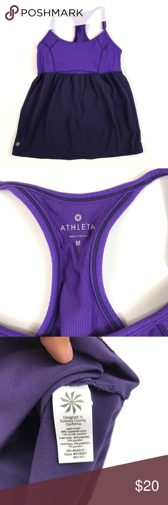 Athleta Women's Retreat Tank Violet Adjustable M Athleta Retreat Tank in violet/purple Medium Armpit to armpit: approximately 14 inches Shoulder to hem: approximately 24 inches (with adjustable strap) Pre-owned. Has some light pilling but overall in good condition. Please see photos! Feel free to ask any questions! Athleta Tops Tank Tops