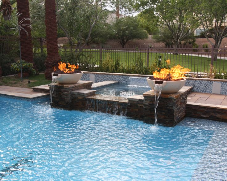 17 best images about pools with fire on pinterest pool spa backyards and bookends for Fire features for swimming pools