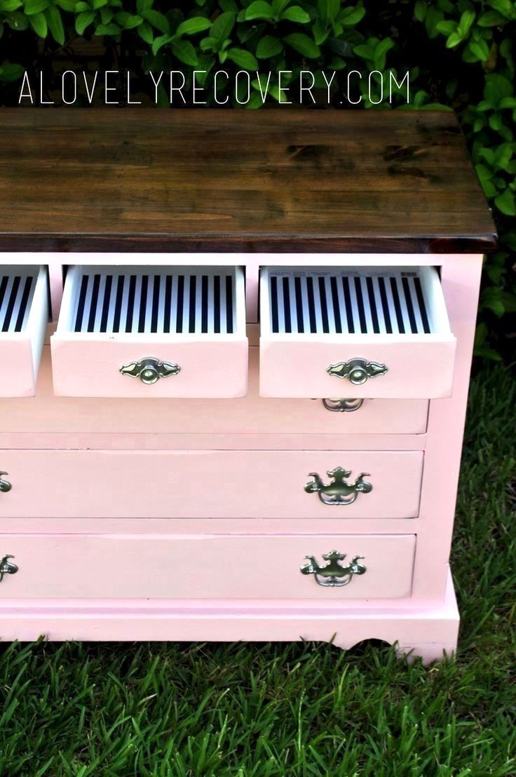painted dresser. painted furniture. DIY, Stripes, Peekaboo drawers, striped dresser.pink dresser. stained top stained dresser, pink and white dresser. silver hardware. shabby chic glossy high gloss modern home decor, little girls dresser, little girls pin