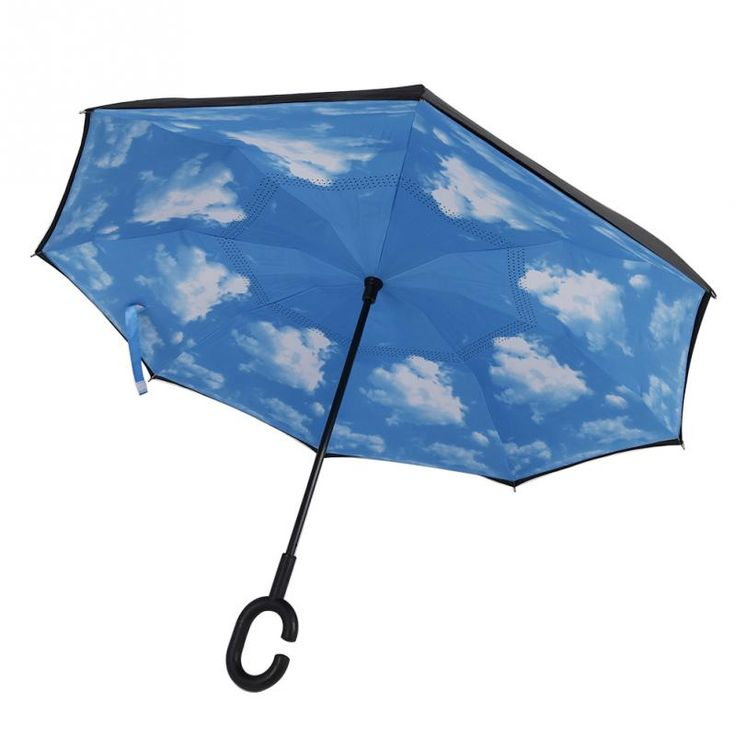 New Modern Upside Down Reverse Umbrella C-Handle Double Layer Inside-Out Blue Sunny Sky Umbrellas