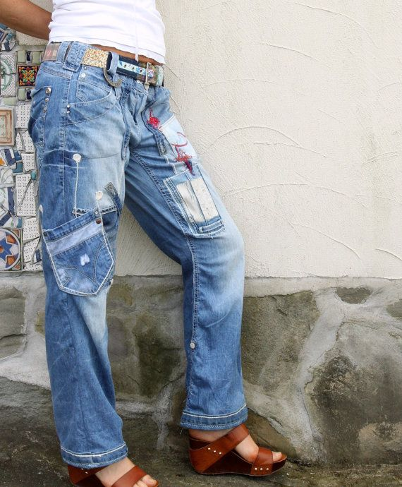 Crazy appliqued recycled upcycled denim jeans by jamfashion