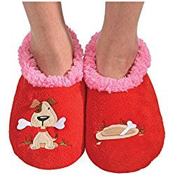 Snoozies Womens Classic Splitz Applique Slipper Socks - Dog, Medium