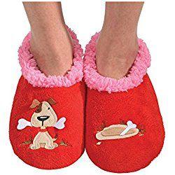 Snoozies Womens Classic Splitz Applique Slipper Socks - Dog, Medium