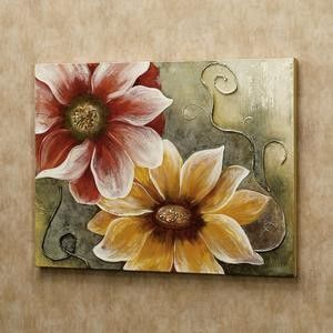 Flowers and Swirls Canvas Wall Art