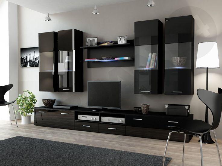 Salon w czarnych barwach wygląda bardzo ekskluzywnie!  #salon #meble #dom  #mirjan24