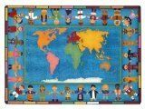 Joy Carpets Kid Essentials Early Childhood Hands Around The World Rug, Multicolored, 7'8″ x 10'9″