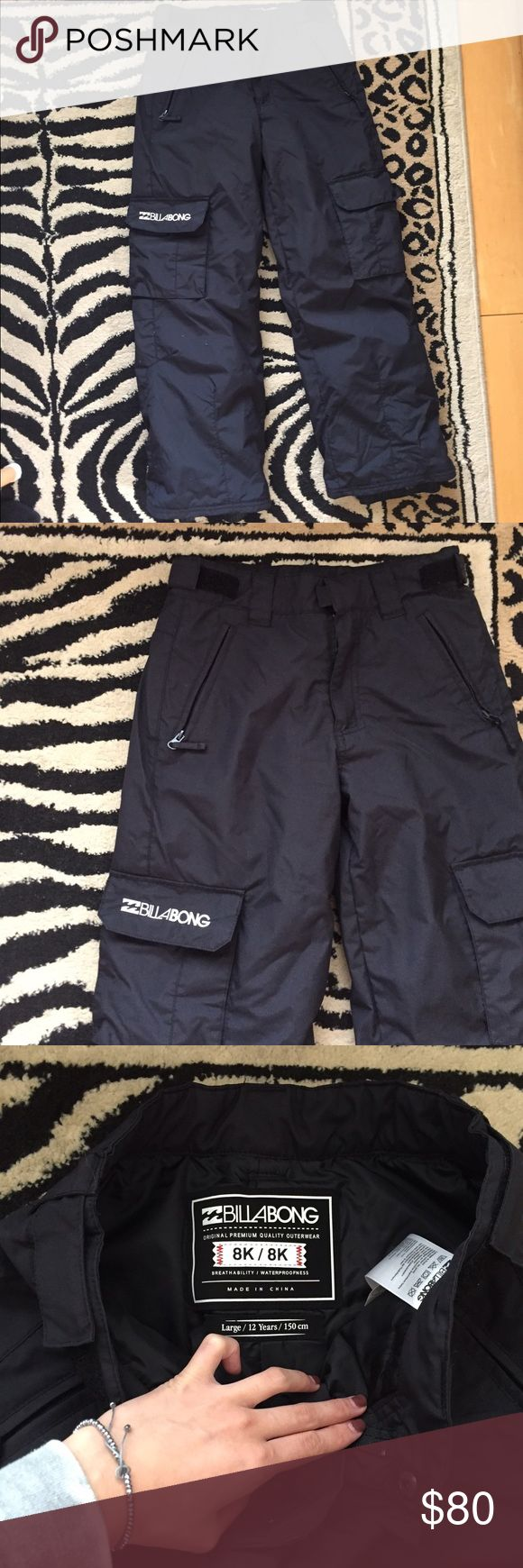 Billabong girl's snow - boarding black pants Bought these 2 seasons ago when it was my first time snowboarding. Didn't feel like dropping 200$ on new boarding pants so I bought a girls pant. Retail $99. In 5'3. The length is a little short on me. I'm a size 25 usually and the waist fits me pretty snug. This would be ideal for someone who's my height or a little shorter with a size 24-23 waist. In good condition. Has lots of functional pockets! Size label states Large / 12 years / 150 cm…