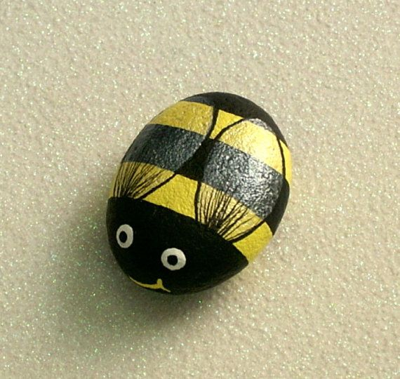 Bumble bee, painted rock, summer garden, yellow, black, honey bee, whimsical garden decor, handmade, painted rock by Rockartiste