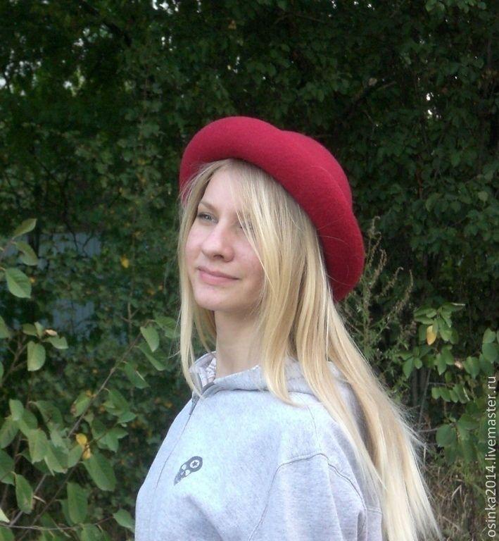 Шляпка котелок женская Сангрия. - бордовый,однотонный,серый цвет,серый