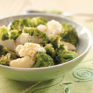 Grilled broccoli and cauliflower recipe    I would bake this in a 375 oven for 15 minutes, checking and turning occasionally. Instead of the butter-flavored spray, try a tbsp of olive oil. Use the spray to keep the veggies from sticking as they roast. No doubt, it will be yummy!