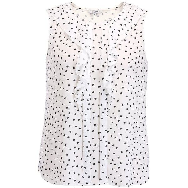 MSSHE Women's Casual Polka Dot Printed Sleeveless T-shirt Tops Plus... ❤ liked on Polyvore featuring tops, t-shirts, plus size tops, women's plus size t shirts, white tees, plus size knit tops and plus size womens tees