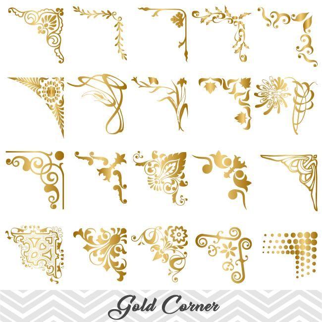 Golden Digital Frame Corner Ornate Gold Flourish Swirl Border Corner Clipart 00024 Digital Frame Clip Art Frames Borders Clip Art