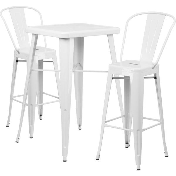 Flash Furniture Metal Indoor-Outdoor Bar Table Set with 2 Barstools ($193) ❤ liked on Polyvore featuring home, outdoors, patio furniture, outdoor patio sets, white, white dining set, white bar stools, white counter stools, white dining table set and outdoor bistro table chairs