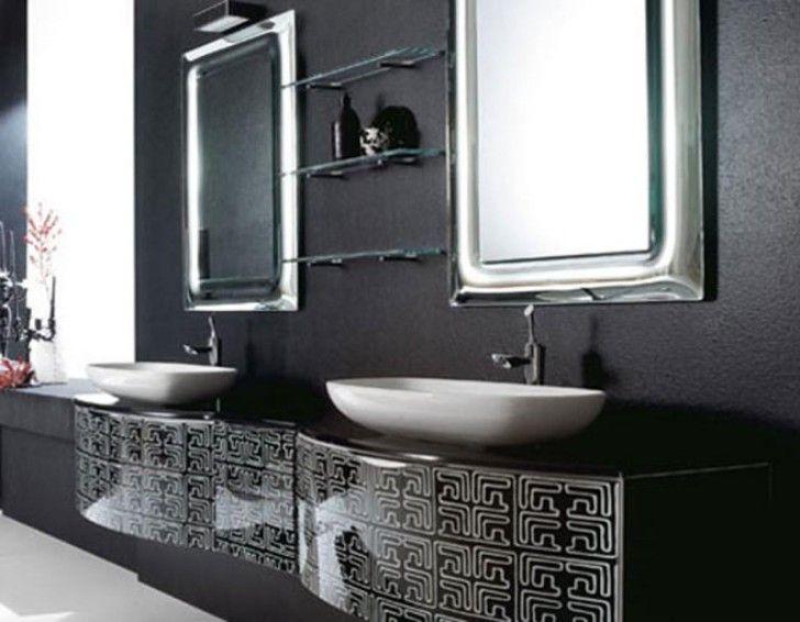 Bathroom Vanities Massachusetts luxury modern bathroom with unique unframed mirror featuring
