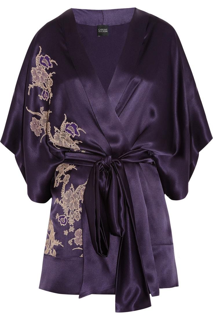 Carine Gilson|Théme Tamara lace-appliquéd silk-satin kimono. It's kimono time, baby.