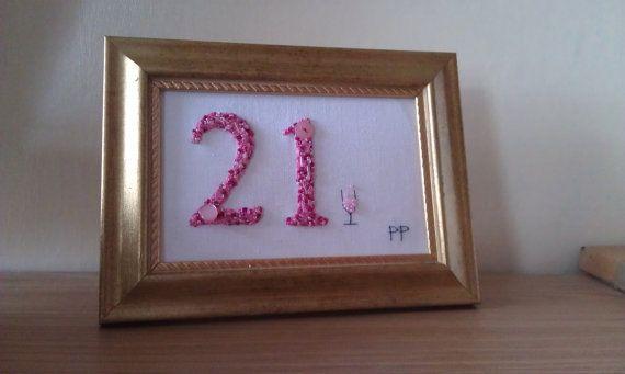 21st Birthday Gift handmade 21st girls gift Pink by PatricksPieces