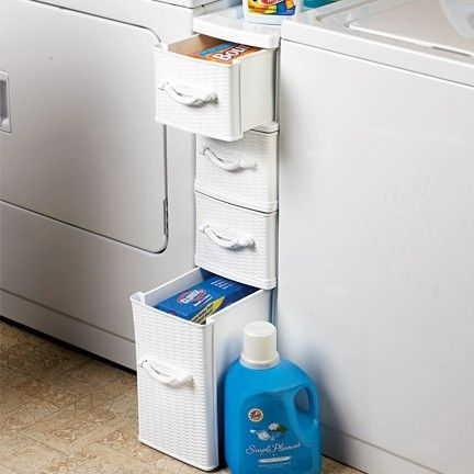 Wicker Laundry Organizer Between Washer Dryer Drawers