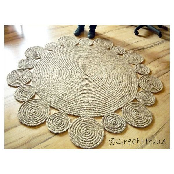 5 ft 152 cm Playful Round Rug by natural jute, Braided Jute Rug (1.115 RON) found on Polyvore featuring home and rugs