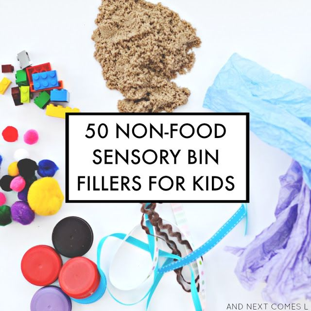 50 non-food-sensory bin fillers to try with kids with free printable list and over 125 example sensory bin ideas that don't use food! from And Next Comes L