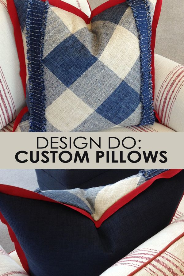Customization comes big and small, from sofas....to pillows! Our San Diego design team created this pillow with a face fabric of plaid used on the diagonal with tape trim, ribbon flange and a solid blue on the reverse side. Experienced design professionals at Calico stores nationwide are ready to tackle your dream d�cor project.