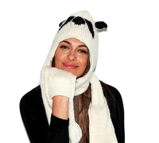 Morbida sciarpa con cappello panda