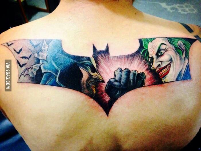 Batman vs joker tattoo inked up pinterest more for Joker batman tattoo