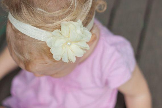 Ivory Baby Girl Headband Newborn Headband Ivory by LaCharDesigns, $8.20