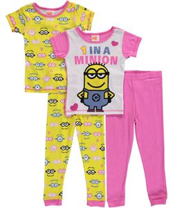 """Despicable Me Big Girls' """"1 in a Minion"""" 4-Piece Pajama Set (Sizes 7 – 16) $16.99 Send her off to bed with minions in this 100% cotton jersey pajama set from Despicable Me. 4-piece begs to be mixed and matched!"""