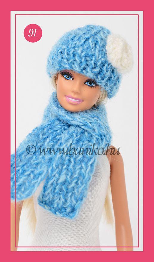 Kék cirmos, rózsával díszített Barbie sapka és sál