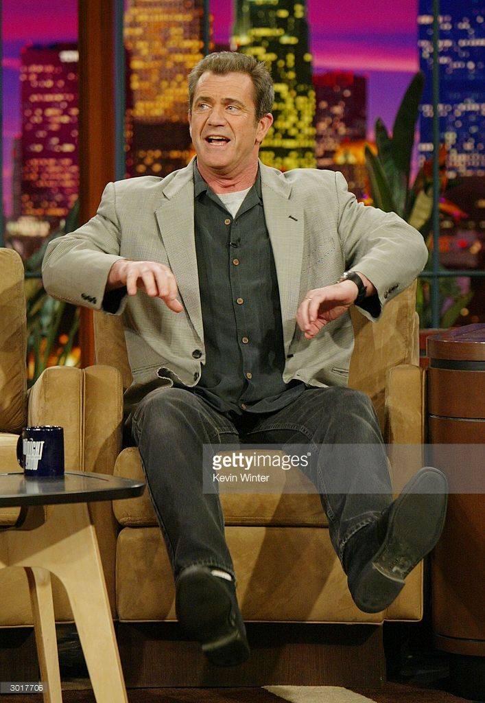 Actor Mel Gibson talks about his new movie 'The Passion of the Christ' with Jay Leno at the Tonight Show with Jay Leno at NBC Studios on February 26, 2004 in Burbank California.