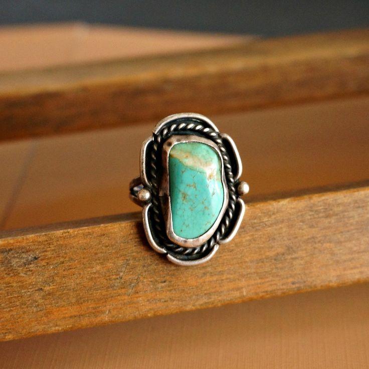 Bidziil Vintage Turquoise Ring Vintage Turquoise Ring Turquoise Ring Sterling Silver Rings Turquoise
