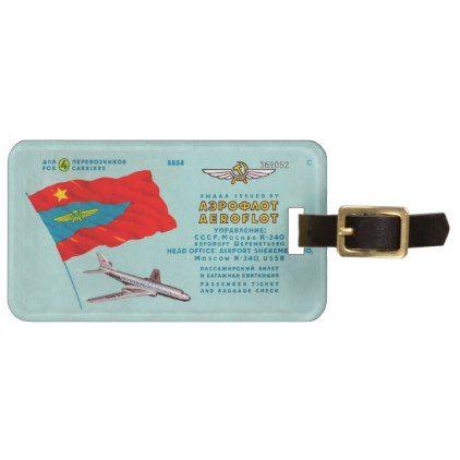 Aeroflot Passenger Ticket Luggage Tag - vintage gifts retro ideas cyo