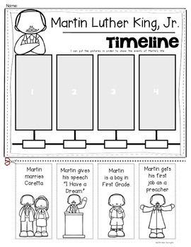Martin Luther King Jr. {Timeline of Events} for Kindergarten and First Grade. $