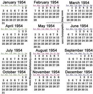 1954 Calendar with Holidays - Bing Images