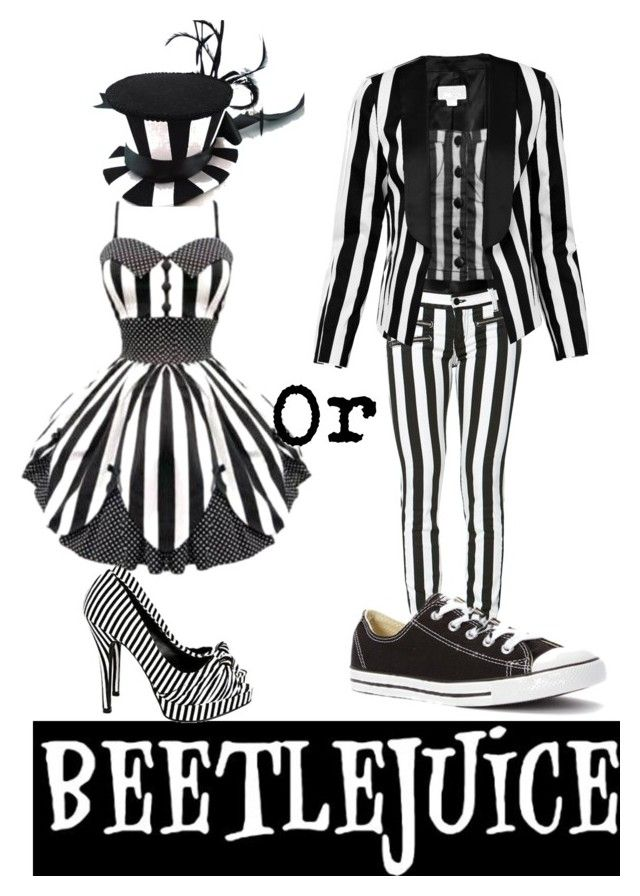 """Beetlejuice gender bender"" by lovestuckdreamer ❤ liked on Polyvore featuring Witchery, Hell Bunny and Converse"