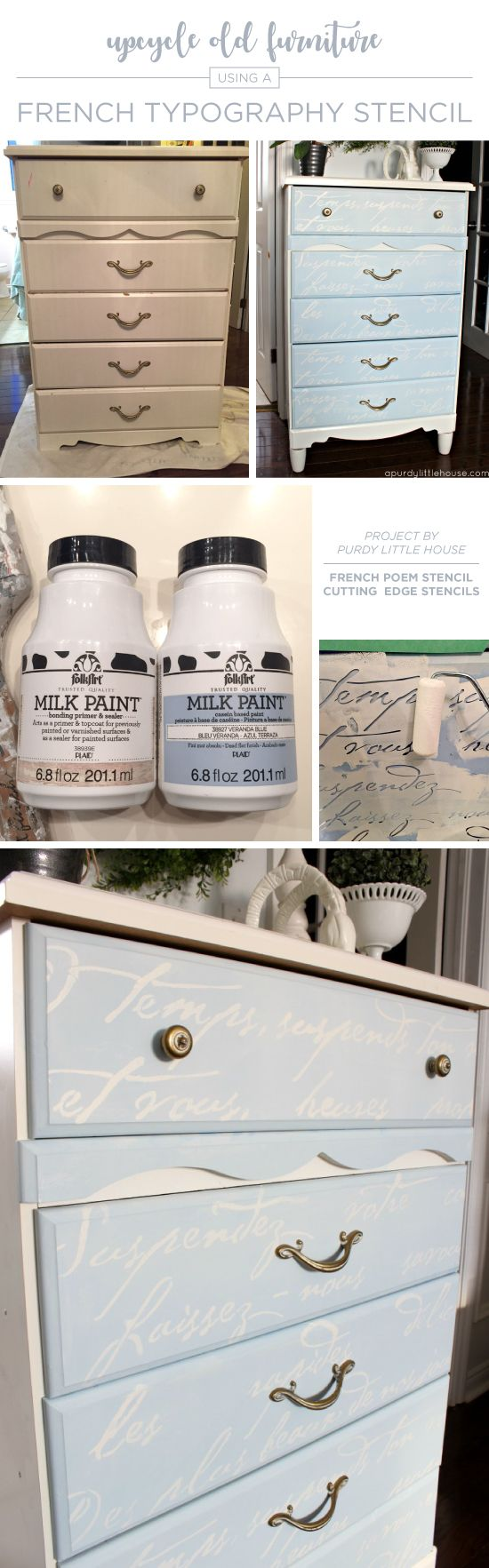 2850 best mobiliario pintado painting forniture images on cutting edge stencils shares a dresser makeover using the french poem allover stencil a typography amipublicfo Gallery