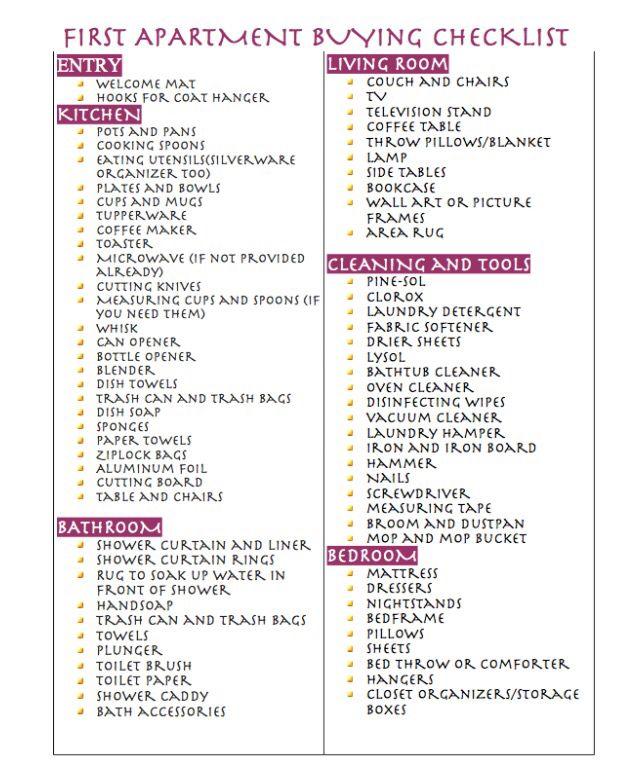 First apartment buying checklist  APARTAMENTO  Apartment checklist First Apartment First