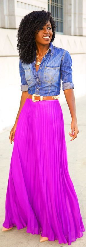 Neon maxi skirt + chambray shirt. Love everything about this. Love Purple!
