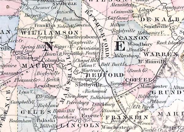 June 30, 1863: During a week of rainy, muddy marches over high hills, James traveled from Murfreesboro to Manchester, Tennessee. Section of map of Tennessee and Kentucky. George W. Colton's Atlas of the World Illustrating Physical and Political Geography. New York: J.H. Colton and Company, 1856. Read James' letter to Molly: http://www.historyhappenshere.org/archives/7410. Missouri History Museum