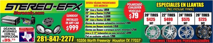 STEREO EFX ESPECIALISTAS EN LLANTAS.  POLARIZADO DE CUALQUIER VEHICULO $ 79.