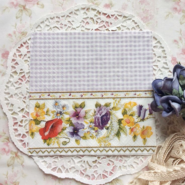 Napkin Papers Serviettens Decoupage Tissue  Purple Floral 33x33 cm (1/4 folded)  IDR 15.000/pc Send me your inquiry to yufihandcrafted@gmail.com   Shabby Chic Victorian Cottage Vintage Retro Rose Floral Flower Paper Napkins   And get a special discount on bulk order!