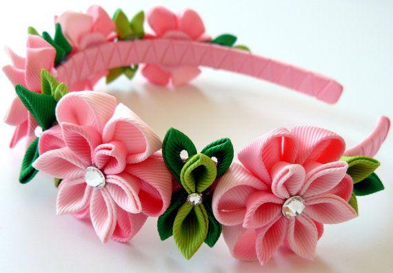 Kanzashi Fabric Flower headband. Pink flower crown by JuLVa                                                                                                                                                                                 More
