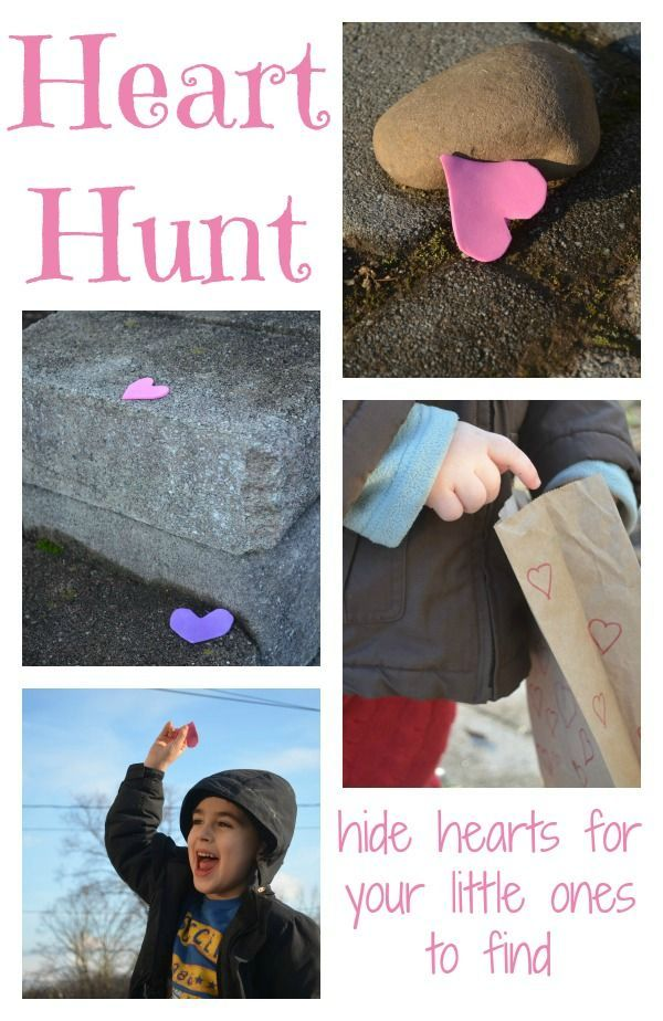 Valentine's Day activity - hide hearts  for your kids to find -fine game for toddlers and preschoolers!