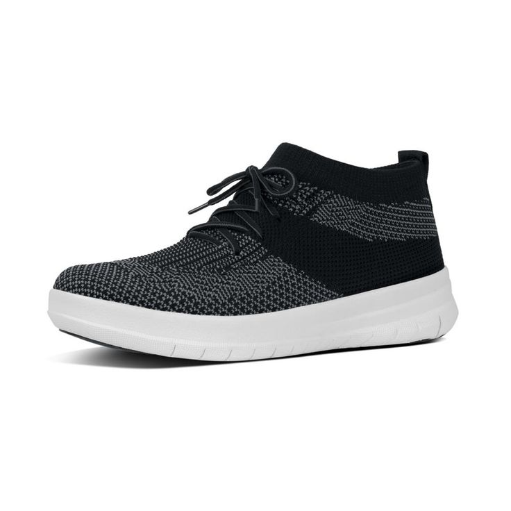 FitFlop Uberknit Slip-On High Top Sneakers Black/Charcoal FitFlop Official Online Store