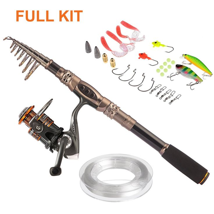 """Telescopic Fishing Rod with Reel Combo Sea Saltwater Freshwater Kit Fishing Rod Kit.The """"2 count"""" is generateautomaticallyby amazon which stands for 1 FISHING ROD+1 FISHING REEL. Warm Prompt:we provide 2 kinds combos and just choose what you need from """"select"""" section."""