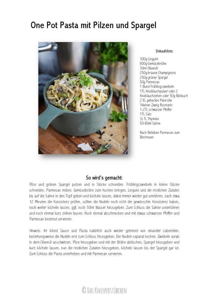 One Pot Pasta mit Pilzen und Spargel - One Pot Pasta with mushrooms and green asparagus (1) | Das Knusperstübchen
