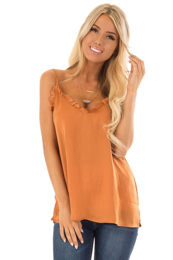 ef71016512 Burnt Orange V Neck Tank Top with Ruffle Detail front close up