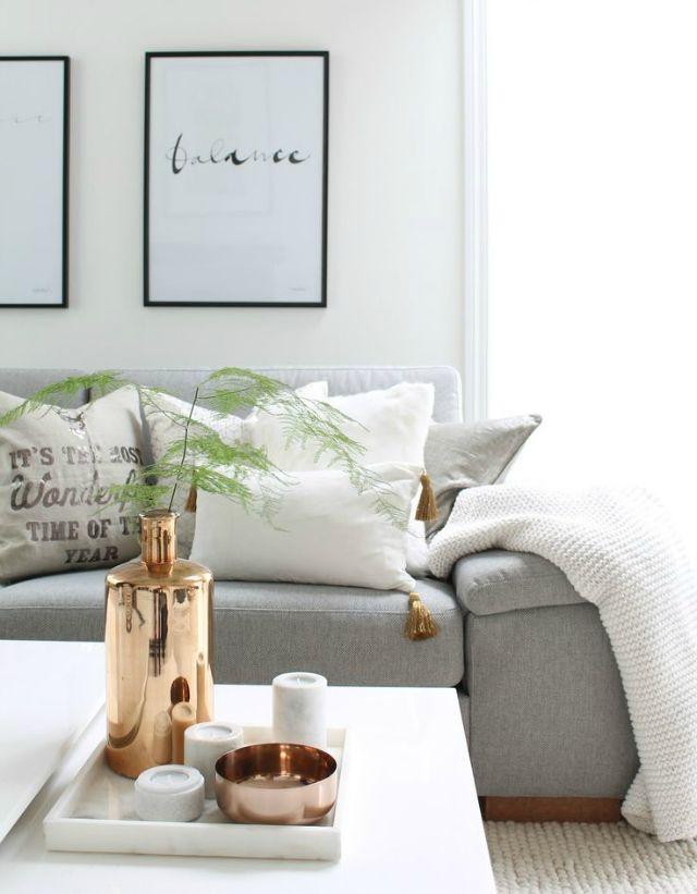 Scandinavian livingroom black white grey copper - Living room black and white theme ...