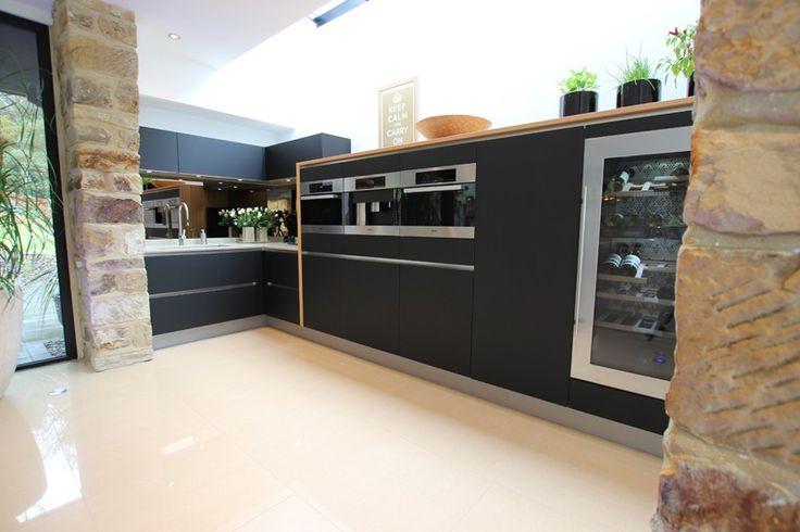 Black matt glass kitchen cabinets
